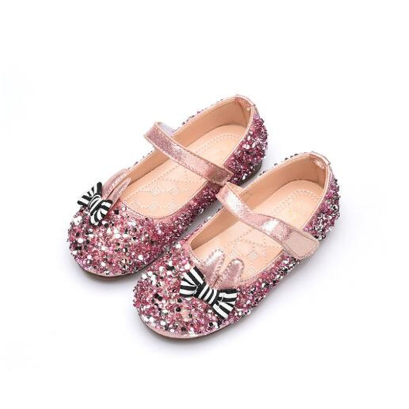 Girls Rhinestone Bow Loafers Patent Leather Shiny Children Dance Shoes Free Shipping Bab ...