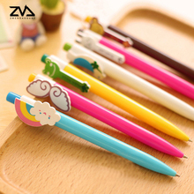 6pcs/lot colored ballpoint pen rainbow pens kawaii stationery canetas material escolar office school supplies