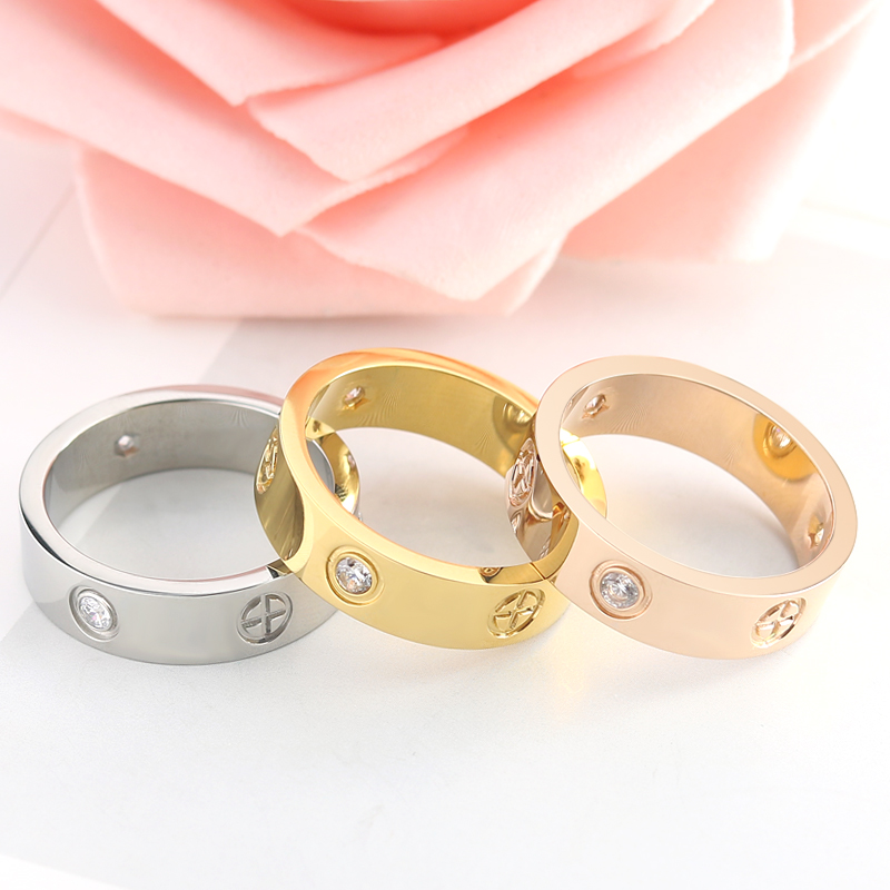 Clearance SaleInnopes fashion Philip's head screw zircon ring simple stainless steel men's ring rose gold women's ring hot sale