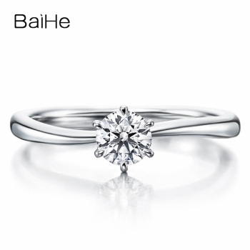 BAIHE Solid 10K White Gold 0.25ct Certified Round cut White Moissanite Engagement Wedding Fashion Women Trendy Jewelry Gift Ring image
