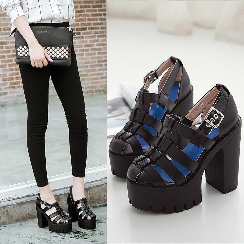 ФОТО punk shoes woman sandals platform heels white sandals women high heel sandals for women platform shoes gladiator sandals D1069