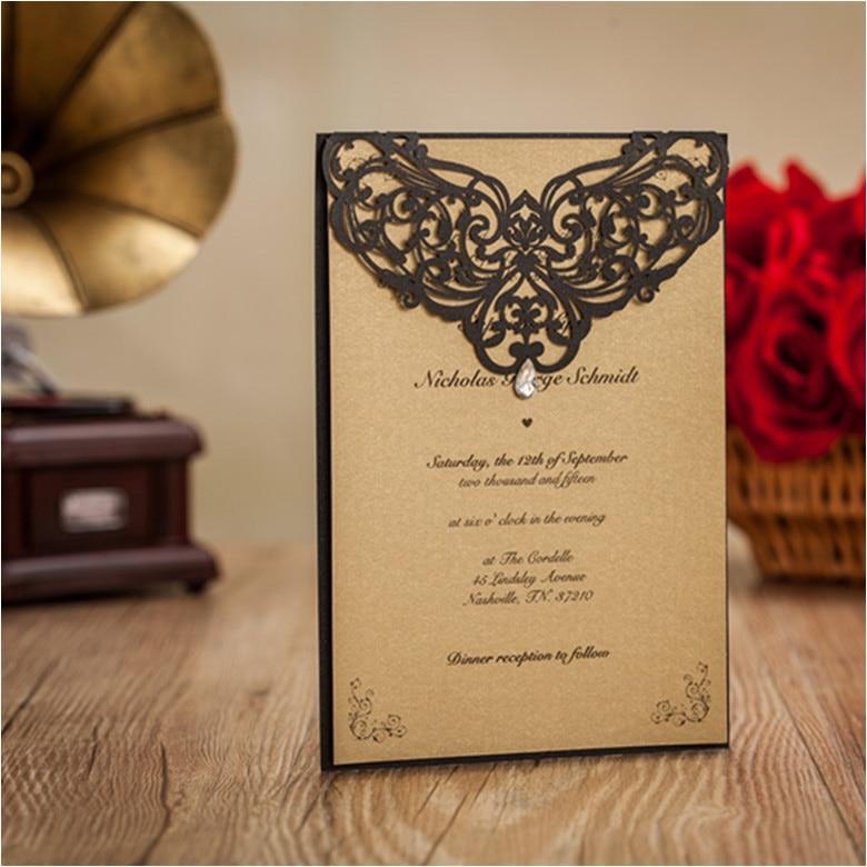 Aliexpress High Cl Black Vinge Wedding Invitation Cards Flower Laser Cut Custom Printing Envelopes Bridal Shower Invites From Reliable