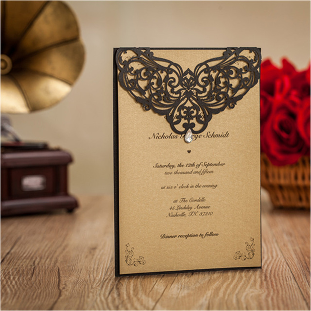 High Class Black Vingtage Wedding Invitation Cards Flower Laser Cut