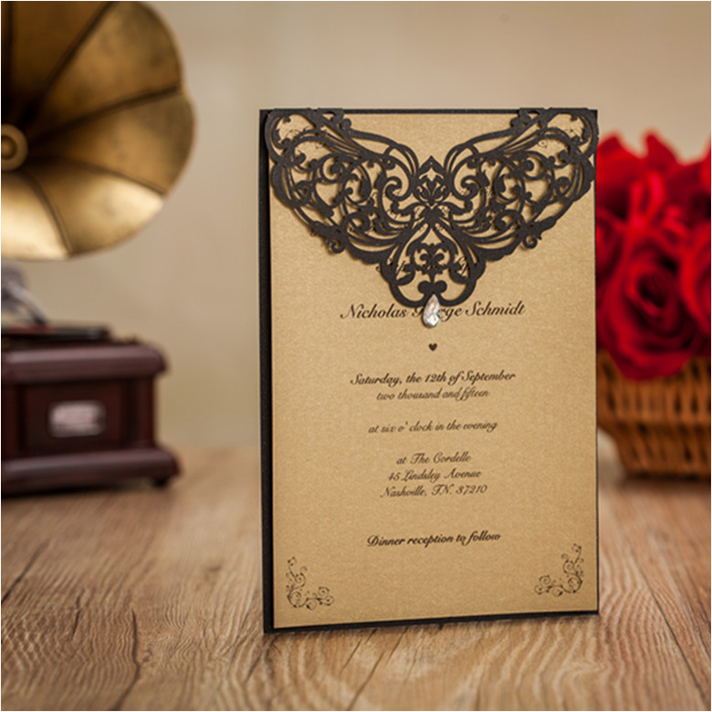 online get cheap wedding invitation print aliexpress com Wedding Invitation Cards Gta high class black vingtage wedding invitation cards flower laser cut custom printing envelopes bridal shower wedding invitation cards templates
