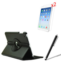 4in1 Rotating 360 Degree Folio Stand Leather Case Cover 2x Screen Protector 1x Stylus For Apple