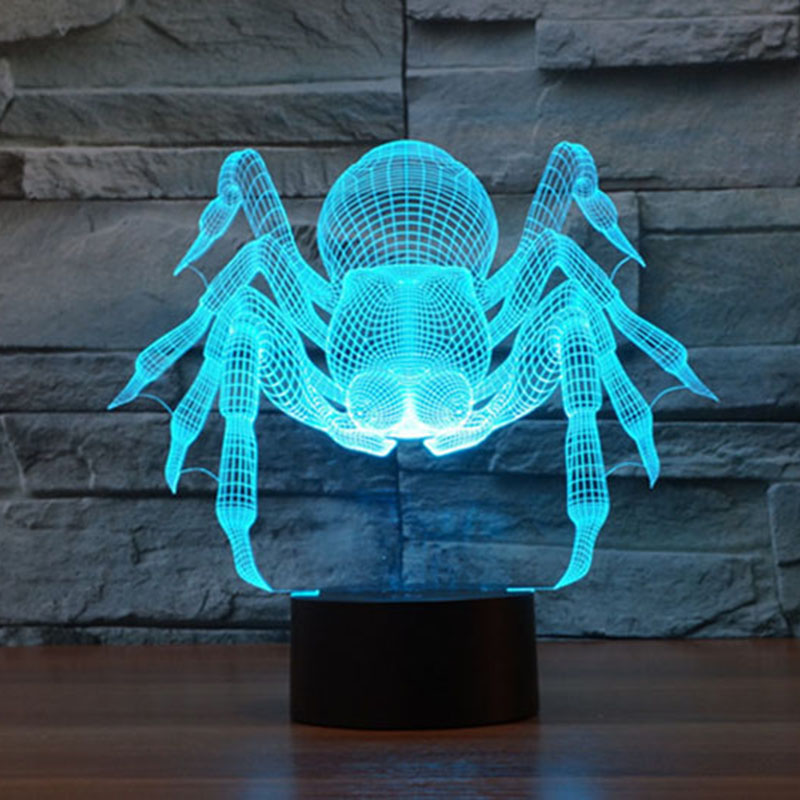 cartoon monster spider 3d table lamp decor creative night light color chaning cool christmas atmosphere light as home decoration - Reflector Christmas Lights