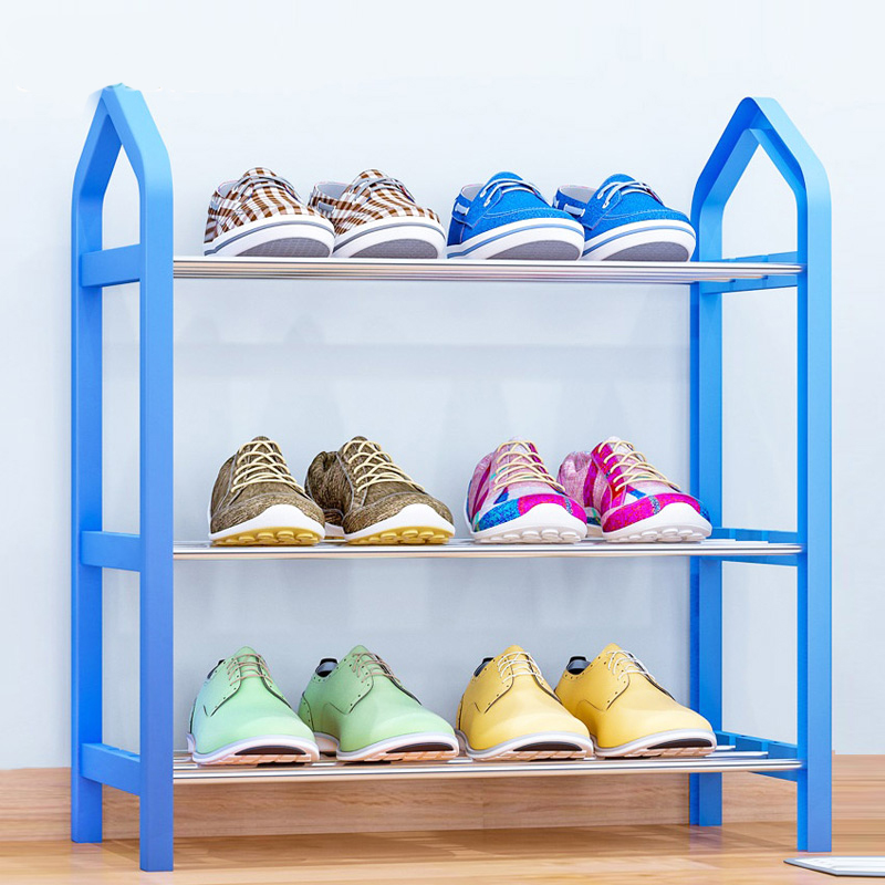 Simple Shoe rack Steel Pipe Plastic 3 Tier Shoe Rack Shelf Easy Assembled Light Storage Organizer Stand Holder Space Saving multi layer shoe rack nonwovens steel pipe easy to install home shoe cabinet shelf storage organizer stand holder space saving