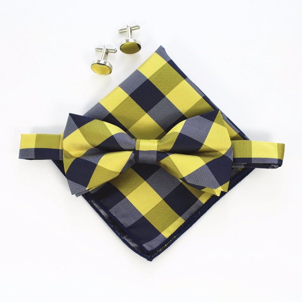 Ricnais Fashion Men's Cufflinks Bowtie And Pocket Squares Set Man Bow Tie Handkerchief Set For Wedding Vintage Plaid Hanky
