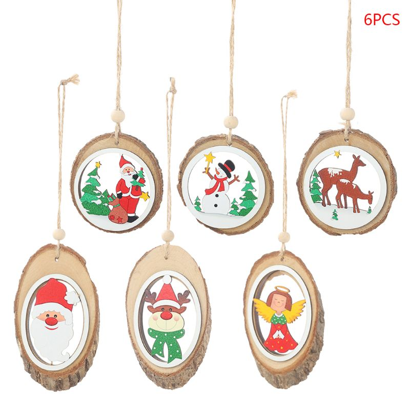 6pcs/set Christmas Wooden Bark Pendants Round Cutout Pattern DIY Crafts Christmas Tree Ornament Home Decoration