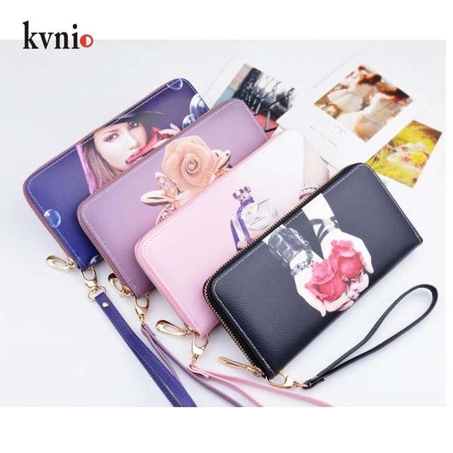 Women s Purse 2018 Fashion Printing Leather Clutch Wallets Women Money Card  Holder Female Zipper Purple Pink 921c714602