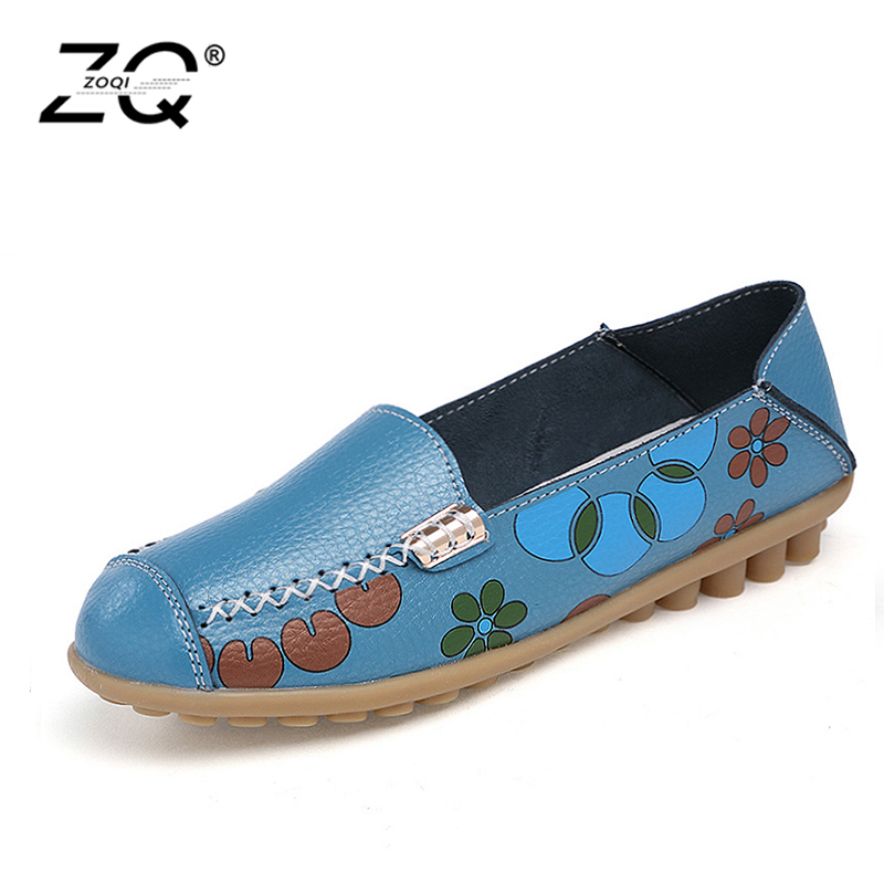 ZOQI 2018 Spring Summer Cut Out Women Shoes Genuine Leather Shoes Woman Flat Flexible Round Toe Nurse Casual Fashion Loafer zoqi shoes woman candy colors genuine leather women casual shoes 2018fashion breathable slip on peas massage flat shoes size 44