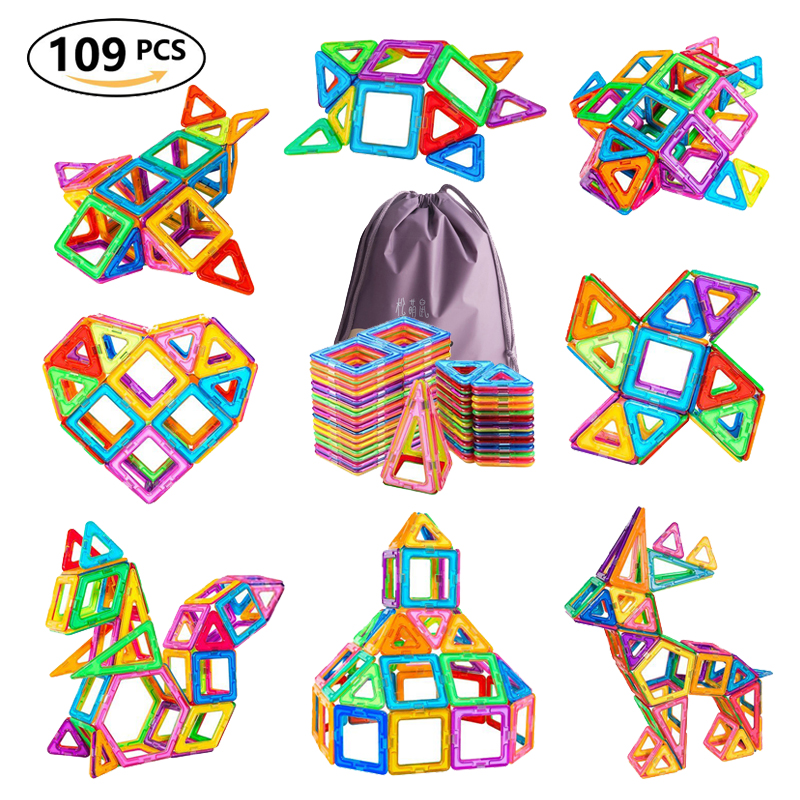109pcs Big Size Magnetic Designer Blocks Plastic Building   Construction Toys Magnetic Tiles Set Educational Toys For Children