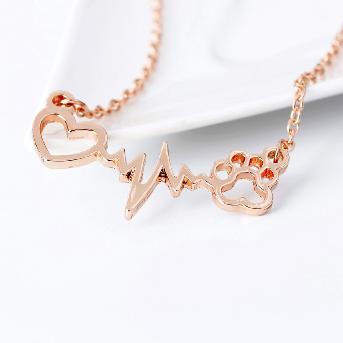 Cute Animal Vintage Jewelry Necklaces Silver Love Cats And Dogs Paws Love Heart Heartbeat Necklace Paw Print Pendants Neckalce