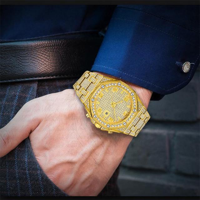 Relógios masculinos marca de topo relógio de luxo masculino tendência único ff árabe diamante relógio 18k ouro quartzo gelo para fora relógio cronógrafo 4