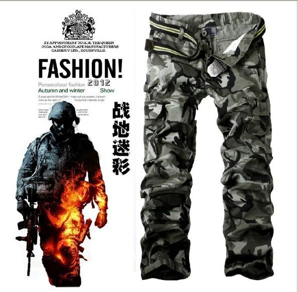 2 Cores 9 Tamanhos calças dos homens do exército calças cargo de multi-bolso casual geral camuflagem militar