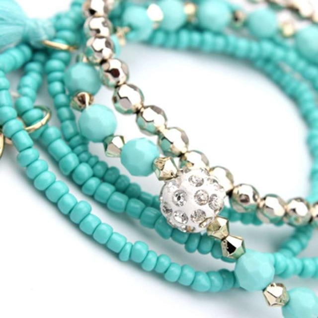 HOT Brand fishion Women girl Multilayer Beads Bangle Multiple colors Tassels Bracelets bangles 25#201809123010 4