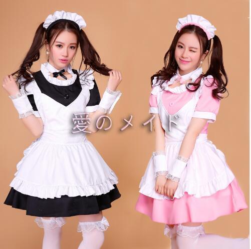 Robe de femme de chambre rose/noire Lolita femmes Costume de Cosplay Alice Anime Cosplay robes de Club de fête vêtements de travail Costumes pour femmes - 4