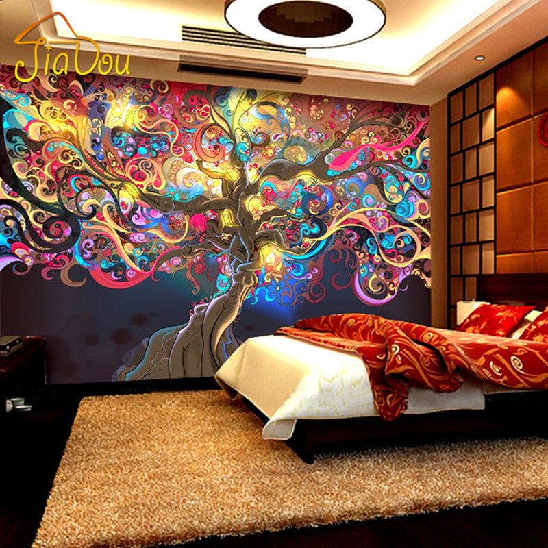 Online buy wholesale 3d money tree from china 3d money for Cafe mural wallpaper