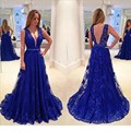 Manga Com Decote Em V Lace Azul Royal Longos Vestidos de Noite 2016 A Linha Sheer Voltar Mulheres Vestido de Noite Formal