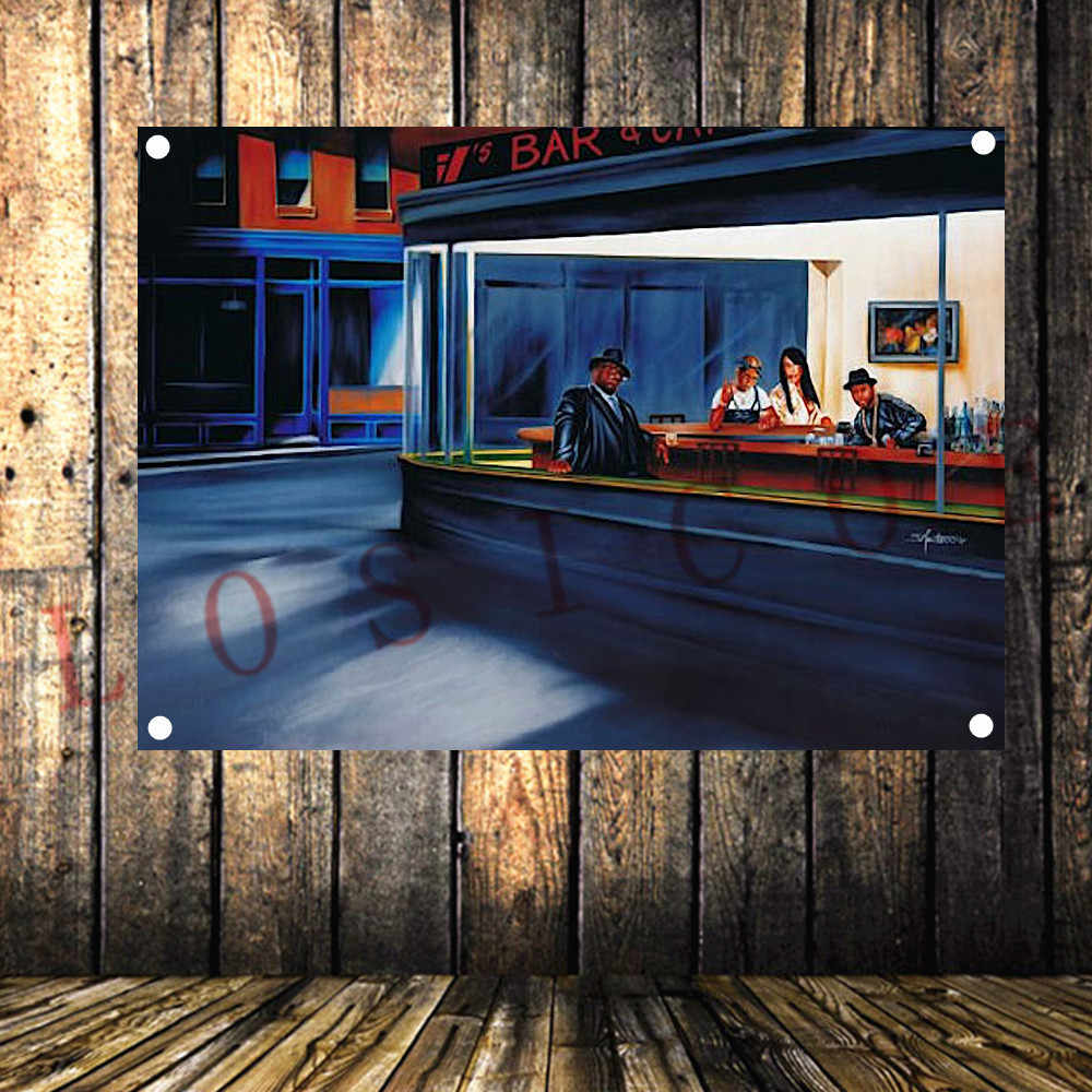 Ночной hawk голливудский постер фильма рисование на ткани потертый шикарный флаг баннер наклейка на стену гобелен Спальня Гостиная Кабинет Декор