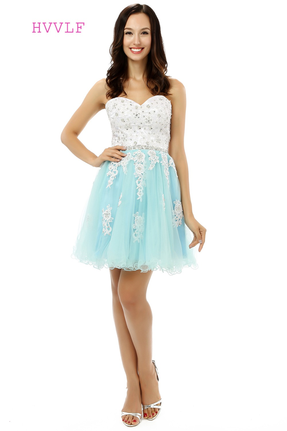 Turquoise Homecoming Dresses A-line Sweetheart Organza Lace Crystals Short Mini Sparkly Sweet 16 Cocktail Dresses 2019
