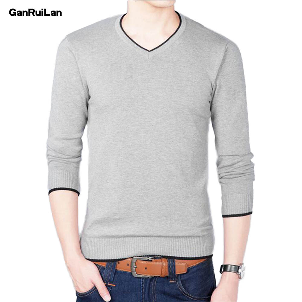 2019 Autumn And Winter New Men's Long-sleeved Sweater Slim V-neck Pure Color Men's Business Casual Sweater B0274