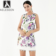 AELESEEN 2019 Summer New Fashion Vintage Style Dresses Women Luxury Beading Lace Spliced Sleeveless European Print Mini Dress