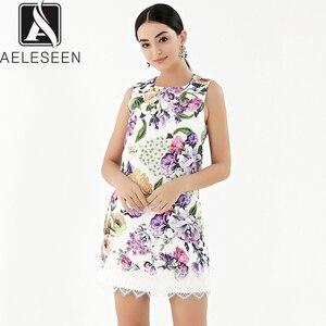 Image 1 - AELESEEN 2019 Summer New Fashion Vintage Style Dresses Women Luxury Beading Lace Spliced Sleeveless European Print Mini Dress