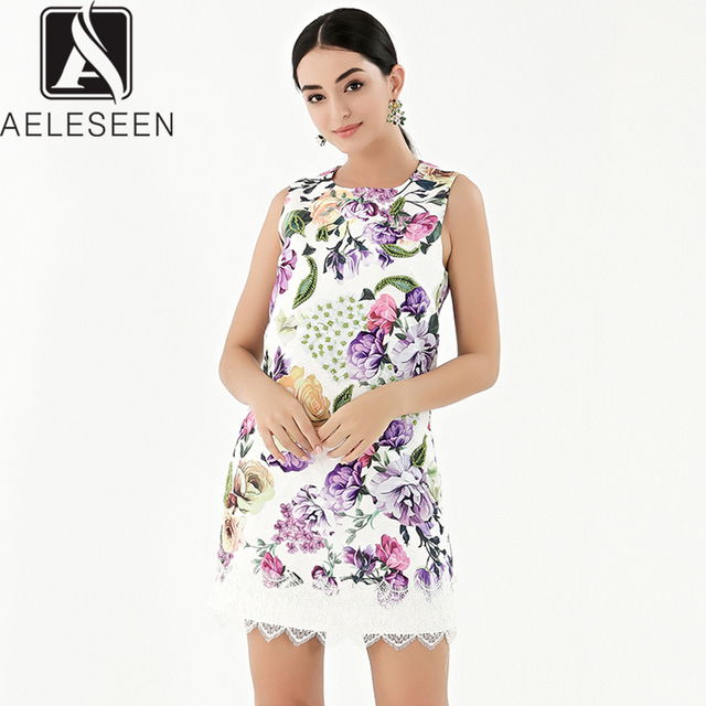 AELESEEN 2019 Summer New Fashion Vintage Style Dresses Women Luxury Beading Lace Spliced Sleeveless European Print Mini Dress