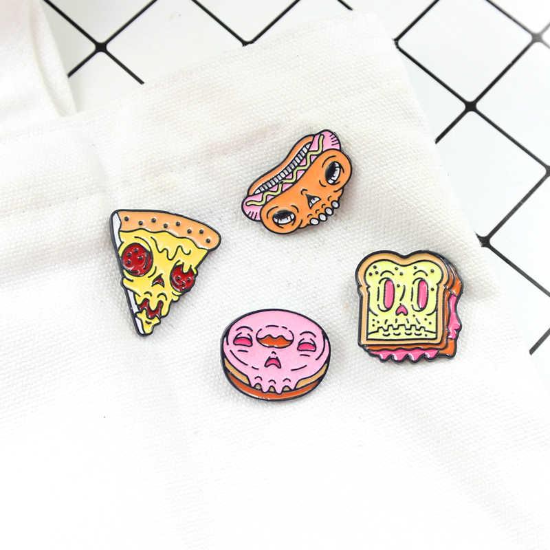 ピザドーナツバーガーホットドッグパンセットブローチグルメおいしい与える食品友人や子供着用スカートセーターギフト