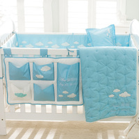 Baby Bedding set of 8pcs quilting/pillow cover&inner/two bumpers/Diapers big hang bag/two bed sheets baby room decor decoration