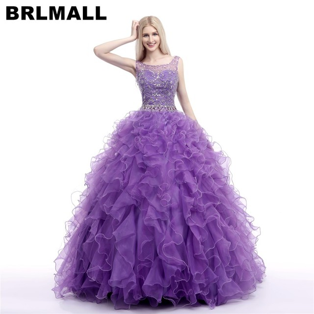 3b4f5eb73c1 BRLMALL Beautiful Violet Quinceanera Dresses Hand Made Ruffle Beaded  Crystals quinceanera gowns Lace Up sweet 16 dresses