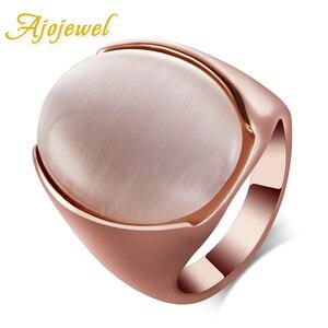 Size 7-10 Ajojewel Brand Unisex Luxury Large Oval Opal Ring Stone Jewelry(China)