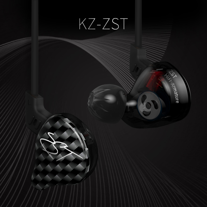 KZ ZST Dual Driver Earphone Dynamic And Armature Detachable Bluetooth Cable Monitors Noise Isolating HiFi Music Sports Earbuds 3