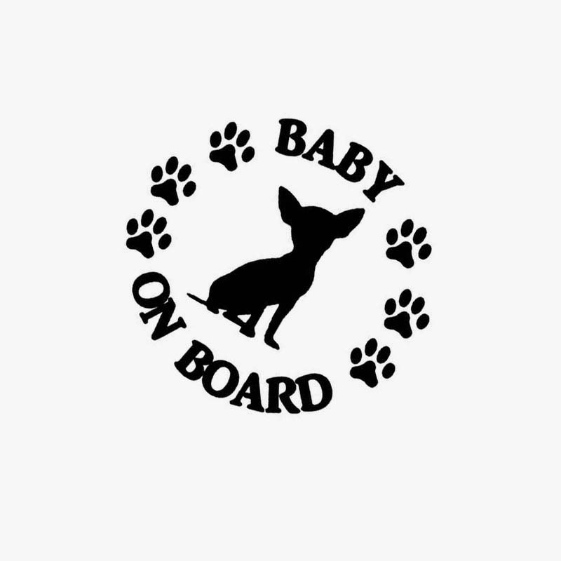 BABY ON BOARD Chihuahua Dog Vinyl Motorcycle Car Sticker