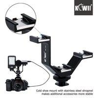 KIWI105mm Camera Triple Mount Hot Shoe V Shape Adapter Bracket For DSLR LED Video Lights Microphones