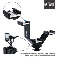 KIWI105mm Camera Triple Mount Hot Shoe V Shape Adapter Bracket For DSLR LED Video Lights Microphones