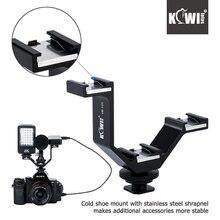 Фотография KIWI105mm Camera Triple Mount Hot Shoe V-shape Adapter Bracket for DSLR LED Video Lights Microphones Monitors