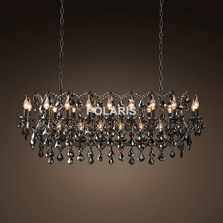 Lustre Vintage en cristal fumé allumant la lampe pendante noire de lustres de bougie pour la maison et le Restaurant