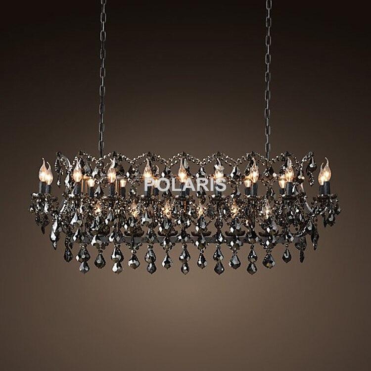 Vintage Smoky Lustre En Cristal Éclairage Noir Bougie Lustres Pendentif Lampe Suspendue Lumière pour La Maison et Restaurant