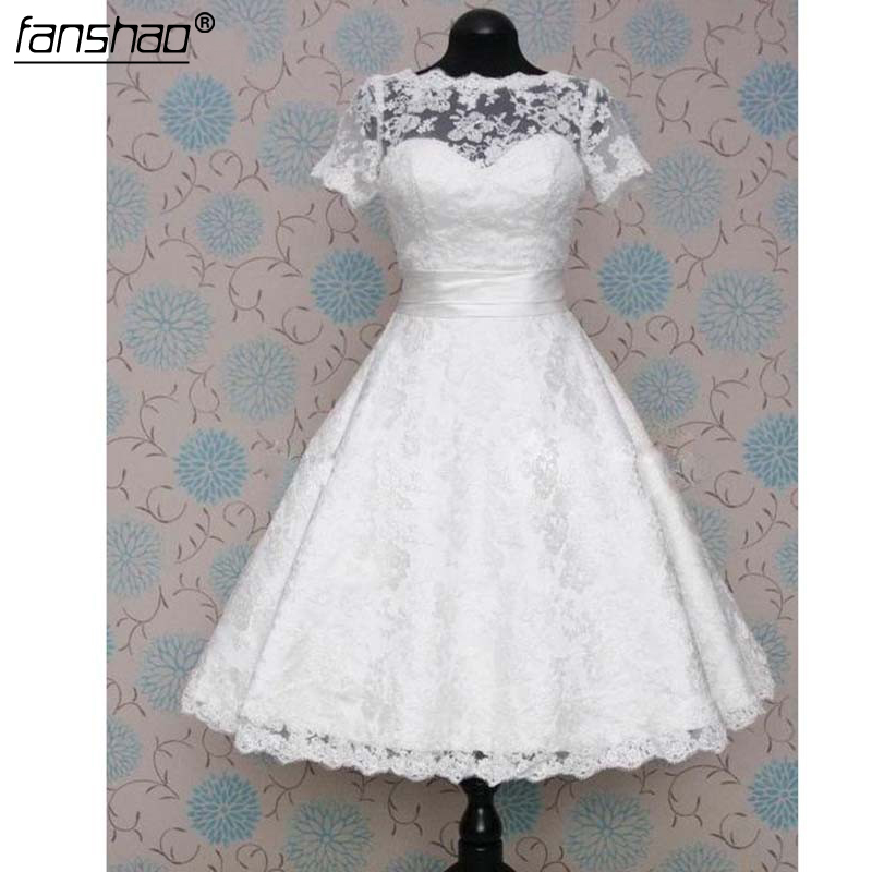 Short Wedding Dress Beach Wedding Dress Lace Wedding Dress Short Sleeve Knee Length Princess Wedding Dress