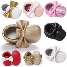 Newborn Baby Boys Girls Shoes Bowknot Footwear Crib Bebe Infant Toddler Pu leather Moccasins Soft Mocc First Walker Prewalkers(China)