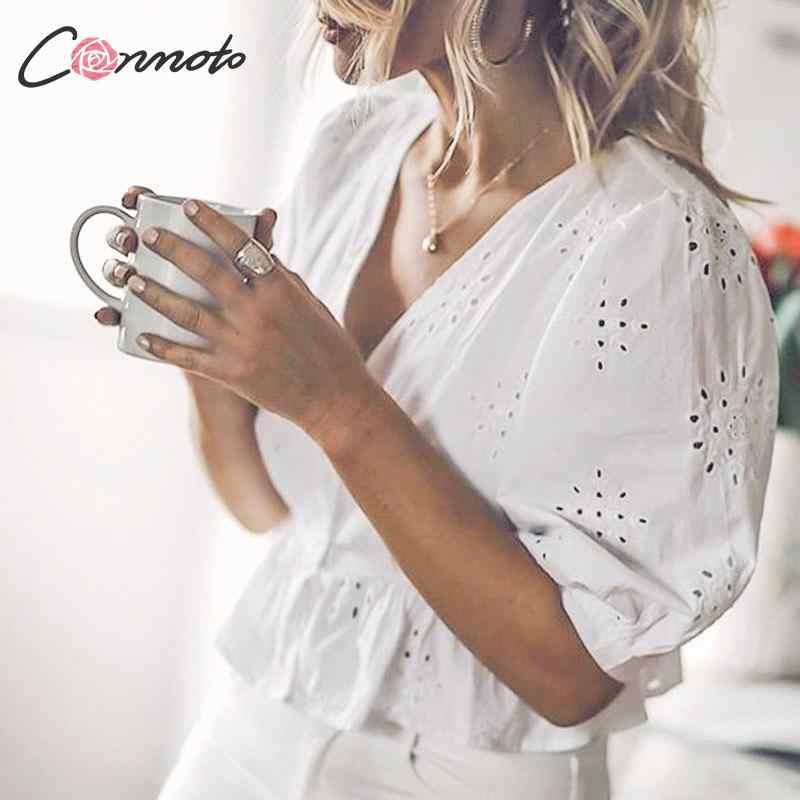 Conmoto אופנה לבן V צוואר רקמת נשים יבול צמרות חולצה נשי מזדמן חלול החוצה פאף שרוולי חולצה שיק Mujer blusa