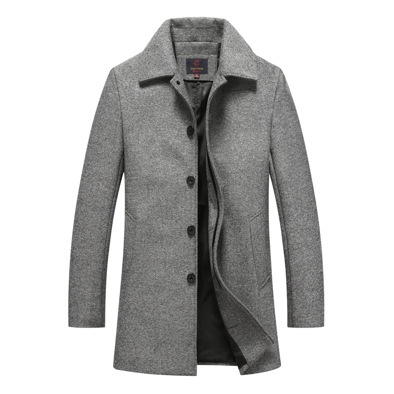 Autumn Winter Single Breasted Woolen Coats Mens Wool Jackets Turn-down Collar Wool Blends Overcoat long cashmere wool coat mens winter down jackets coats piumino peuterey wool collar double breasted jacket lapel pocket vertical multi pocket jacket