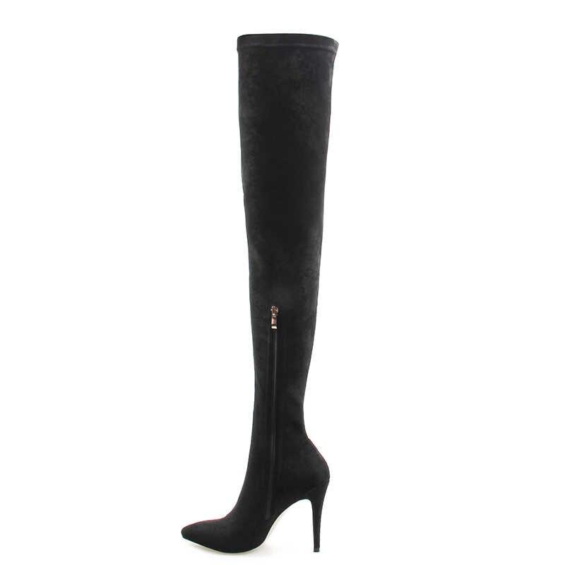 Perixir likra yüksek topuk bayanlar diz yüksek çizmeler moda kadın diz çizmeler üzerinde katı moda sivri burun fermuar streç kumaş