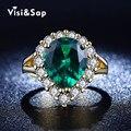 Lujo Esmeralda Rusia verde piedra anillo de alianzas de Boda anillos para las mujeres al por mayor anel oro Amarillo plateado cz diamond VSR201