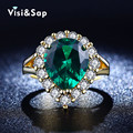 Luxury Emerald Russia green stone rings for women wholesale ring Wedding bands anel Yellow gold plated CZ diamond jewelry VSR201