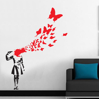 Free Shipping Large Size 100x130cm Banksy Butterfly Suicide Girl Vinyl Wall Sticker Wall Sticker Art Stickers