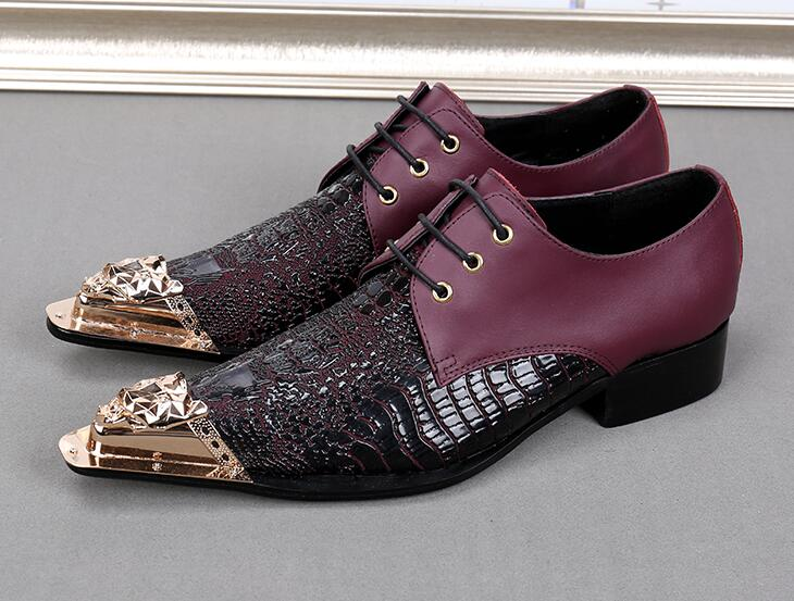 2017 새로운 스타일 패션 정품 가죽 신사 luxurye 남자 골드 금속 발가락 파티와 결혼식 신발-에서포멀 슈즈부터 신발 의  그룹 1