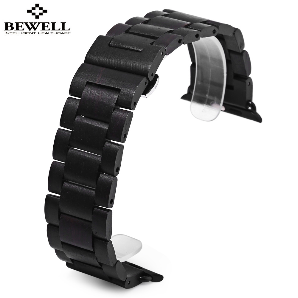 Bewell Watch Band Quality Wooden Watchband 24mm Black Brown Luxury Strap Butterfly Clasp Wristband ultra luxury 2 3 5 modes german motor watch winder white color wooden black pu leater inside automatic watch winder